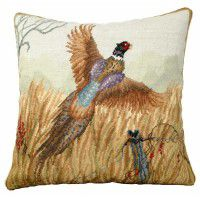 Pheasant in Flight Needlepoint Pillow