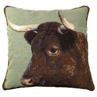 Milking Devon Cow Needlepoint Pillow