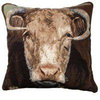 Ralph the Bull Needlepoint Pillow