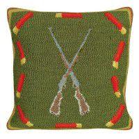 Shotguns and Shells Hooked Wool Pillow