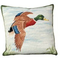 Mallard in Flight Needlepoint Pillow