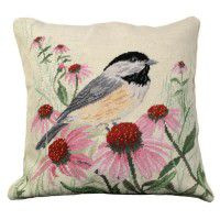 Chickadee Needlepoint Pillow