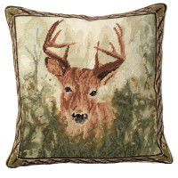 Stag in Forest Needlepoint Pillow