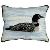 Peaceful Loon Needlepoint Pillow