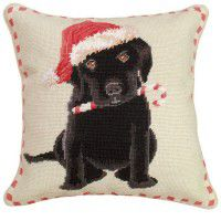 Christmas Black Lab Pillow