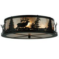 Elk At Dusk Flush Mount Ceiling Light