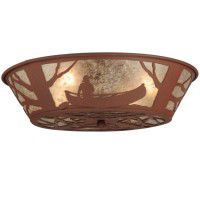 Canoe At Lake Flush Mount Ceiling Light