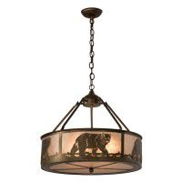 Black Bear Chandelier with Silver Mica