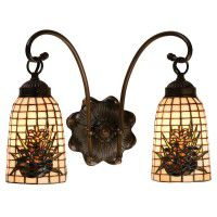Pine Cone Art Glass Double Wall Sconce