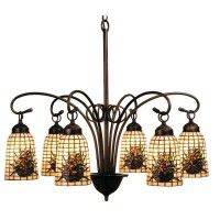 Pine Cone Art Glass 6 Light Chandelier