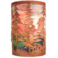 Sunset Sky Tall Pines Wall Sconce