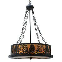 Pine Cone Chandelier with Black Finish