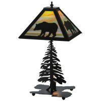 Black Bear At Stormy Sunset Table Lamp