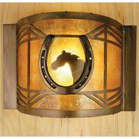 Horse In Horseshoe Wall Sconce