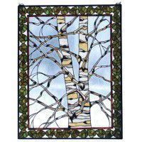 Winter Birch Stained Glass Window