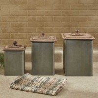 Norwood Canisters 3 pcs Set with Wood Lids