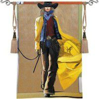 We're Comin' Thru Cowgirl Wall Tapestry