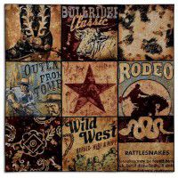 Cowboy Collage Wall Tapestry