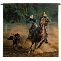Roping on the Ranch Wall Tapestry