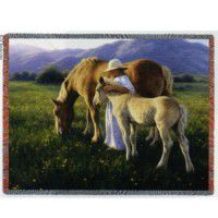 Golden Beauties Horse Afghan