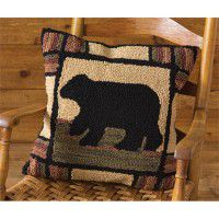 Adirondack Bear Hooked Pillow