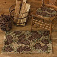 Natural Pine Cone Hooked Rug