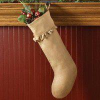 Ruffled Jute Burlap Stocking
