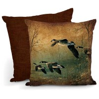 "Evening Retreat – Canada Geese 18"" Decorative Pillow-CLEARANCE"