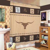 Long Horn Steer and Brands Shower Curtain