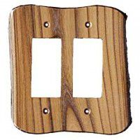 Rustic Double-Gang 2-Rocker Plate Cover (3 wood options)