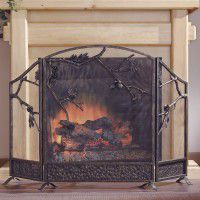Pine Cone Branch Fireplace Screen