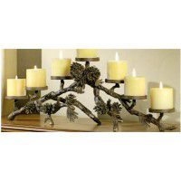 Pine Cone Mantlepiece Candle Holder