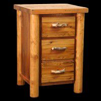 Barn Wood and Log 3 Drawer Nightstand