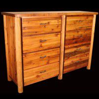 Barn Wood and Log 8 Drawer Dresser