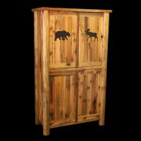 Barn Wood and Log 4 Door Armoire