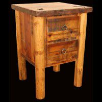 Barn Wood and Log 2 Drawer Nightstand