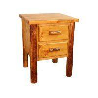 Two Drawer Log Nightstand