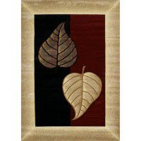 Burgundy Twin Leaf Area Rugs