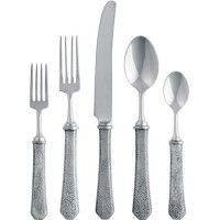 The Hammered Pattern Pewter Five Piece Place Setting