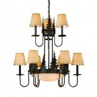 Yosemite Pine Tree 2 Tier Chandelier w/Inverted Bowl
