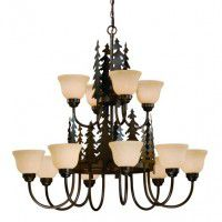 Yosemite Pine Tree 12 Light Chandelier