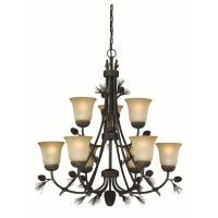 Sierra 9 Light Pine Cone Chandelier