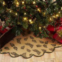 Burlap Pine Cone Tree Skirt -DISCONTINUED