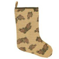 Burlap Pine Cone Christmas Stocking-Discontinued