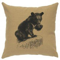 "Linen Bear Cub Pillow 16"" x 16"" (5 colors)"