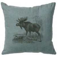 "Moose Scene Linen Pillow 16"" x 16"" (5 colors)"