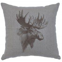 "Moose Profile Linen Pillow 16"" x 16"" (5 colors)"