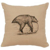 "Bear on Logs Linen Pillow 16"" x 16"" (5 colors)"