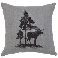 "Moose Trees Linen Pillow 16""x 16"" (5 colors)"