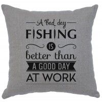"Fishing Day Linen Pillow 16"" x 16"" (5 colors)"